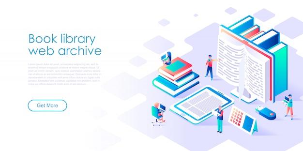 Plantilla de página de aterrizaje isométrica biblioteca de libros