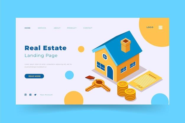 Plantilla de página de aterrizaje isométrica de bienes raíces
