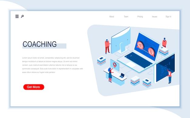 Plantilla de página de aterrizaje isométrica de coaching empresarial.