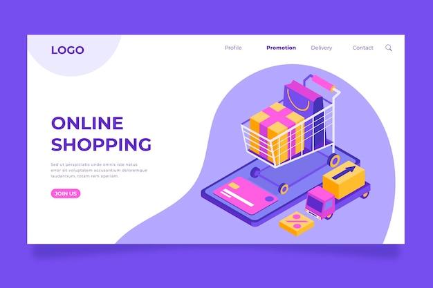 Plantilla de página de aterrizaje isométrica de compras en línea