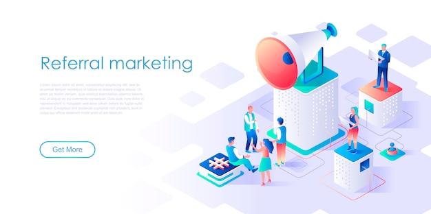 Plantilla de página de aterrizaje isométrica de marketing de referidos