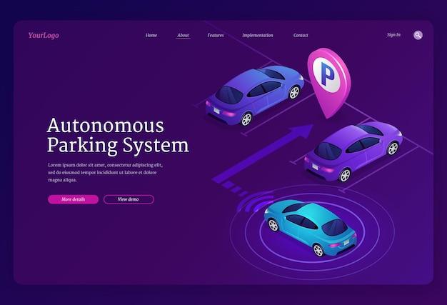 Plantilla de página de aterrizaje isométrica del sistema de estacionamiento autónomo. automóvil inteligente autónomo con tecnología de escaneo y radar que se estaciona automáticamente en un lugar vacante