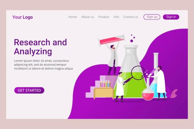 Plantilla de página de aterrizaje laboratorio de análisis y servicio de investigación.