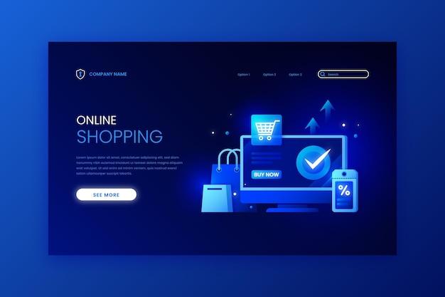 Plantilla de página de aterrizaje en línea de compras futuristas