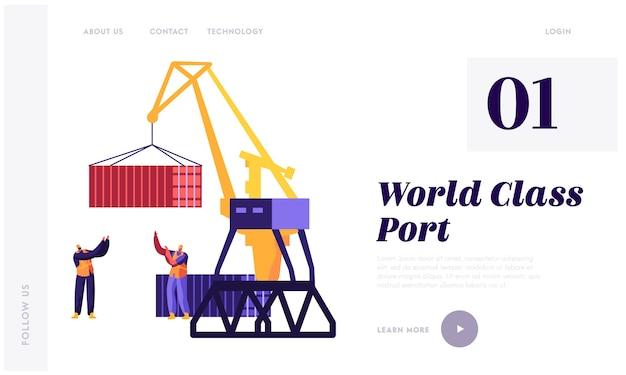 Plantilla de página de aterrizaje logístico y transporte marítimo