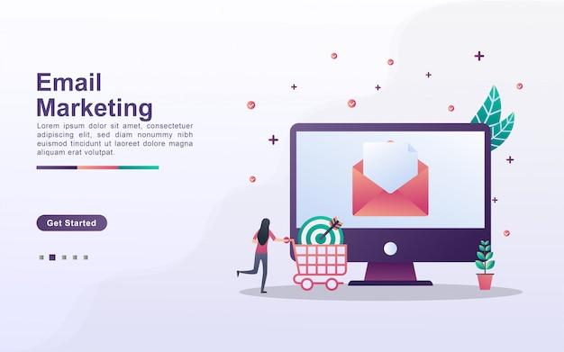 Plantilla de página de aterrizaje de marketing por correo electrónico en estilo de efecto degradado
