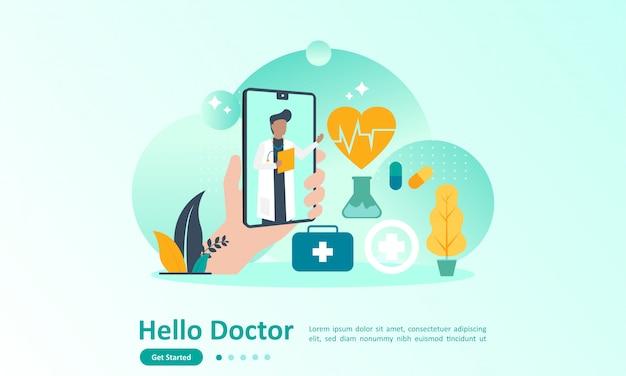 Plantilla de página de aterrizaje del médico en línea