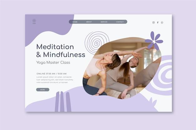 Plantilla de página de aterrizaje de meditación y atención plena