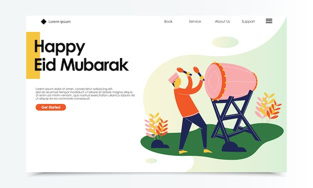Plantilla de pagina de aterrizaje mubarak eid feliz