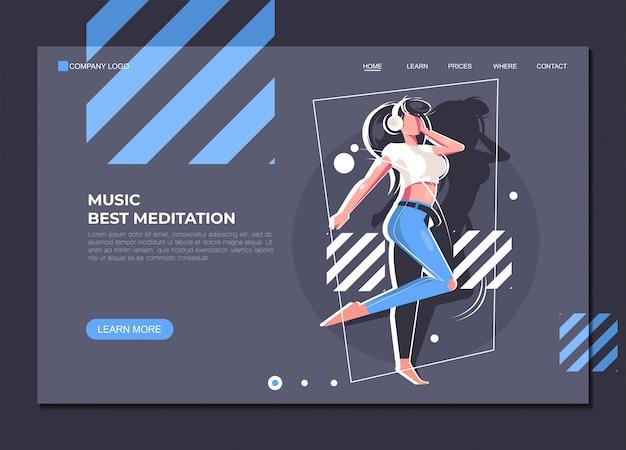 Plantilla de página de aterrizaje música mejor meditación