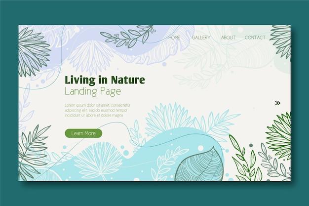 Plantilla de página de aterrizaje de naturaleza dibujada a mano