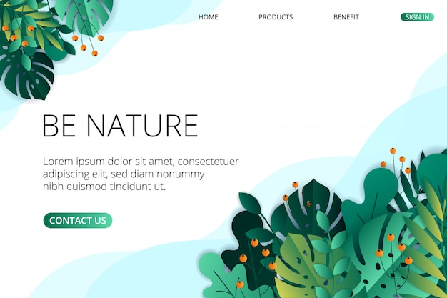 Plantilla de página de aterrizaje de naturaleza plana