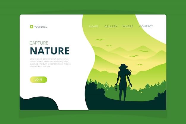 Plantilla de página de aterrizaje de la naturaleza