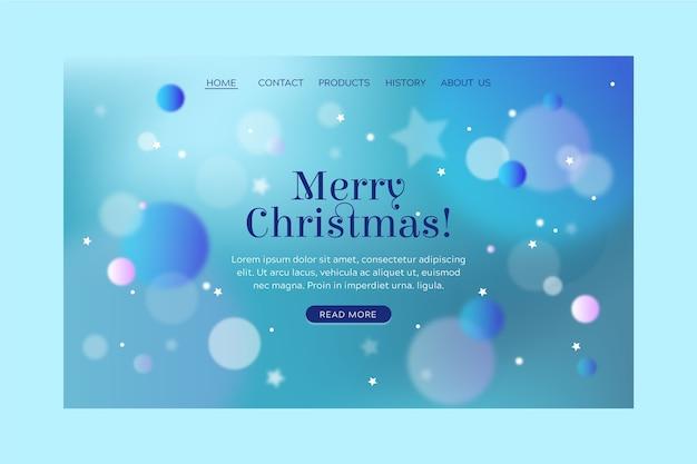 Plantilla de página de aterrizaje de navidad borrosa