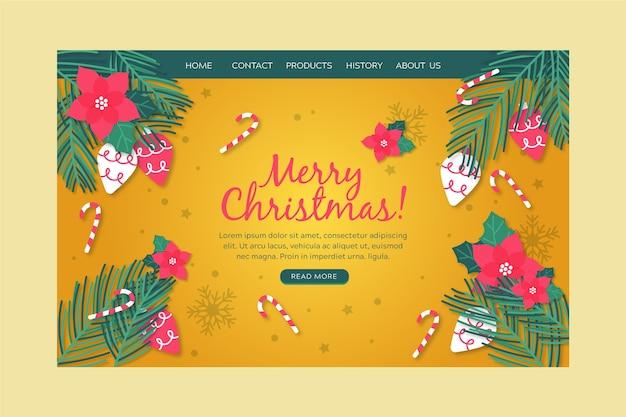 Plantilla de página de aterrizaje de navidad dibujada a mano
