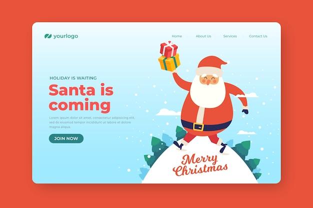 Plantilla de página de aterrizaje de navidad de diseño plano