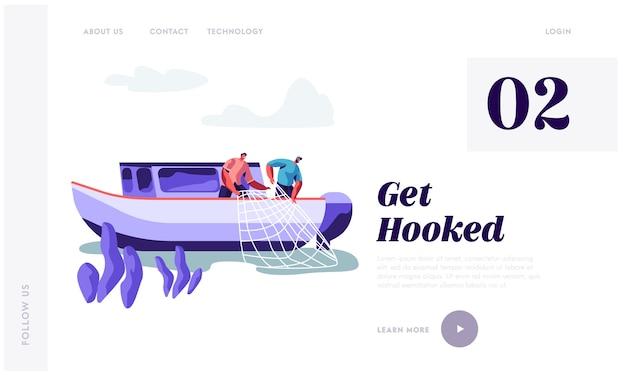 Plantilla de página de aterrizaje de pescadores trabajando