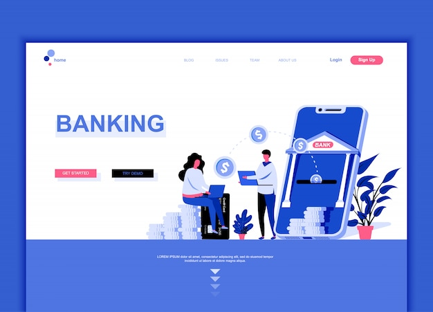 Plantilla de página de aterrizaje plana de la banca en línea