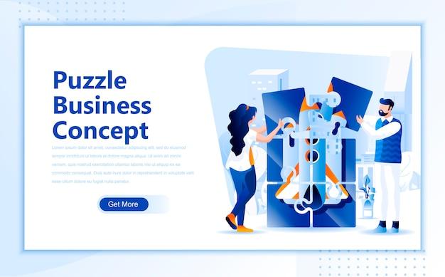 Plantilla de página de aterrizaje plana de concepto de negocio de rompecabezas de página de inicio