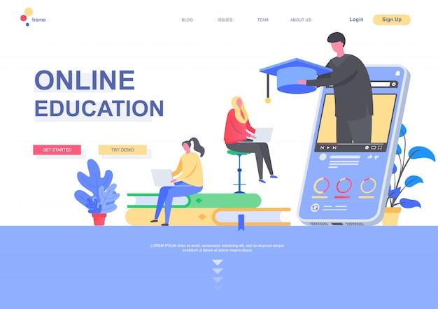 Plantilla de página de aterrizaje plana de educación en línea. estudiantes de educación a distancia, cursos profesionales y desarrollo de habilidades. página web con personajes de personas. ilustración de estudio interactivo.