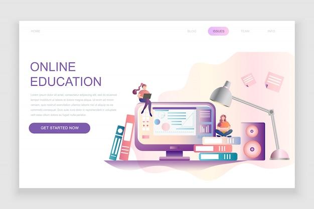 Plantilla de página de aterrizaje plana de educación en línea