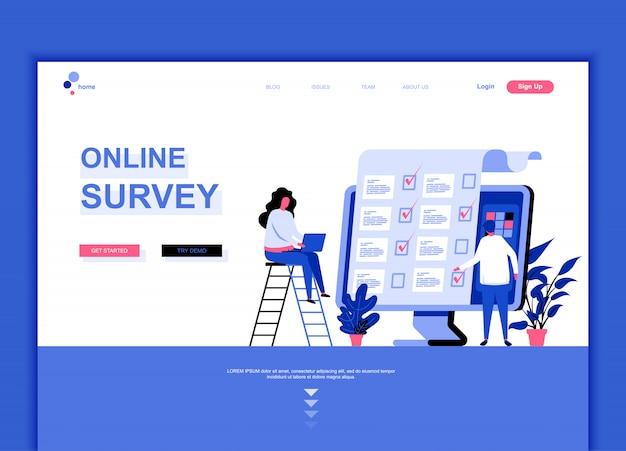 Plantilla de página de aterrizaje plana de encuesta en línea