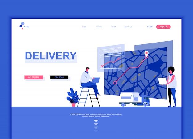 Plantilla de página de aterrizaje plana de entrega mundial