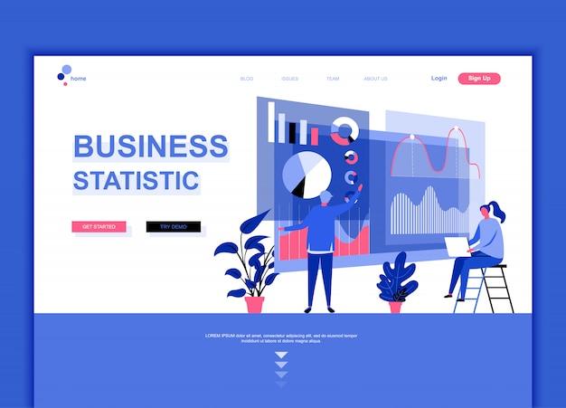 Plantilla de página de aterrizaje plana de estadística empresarial