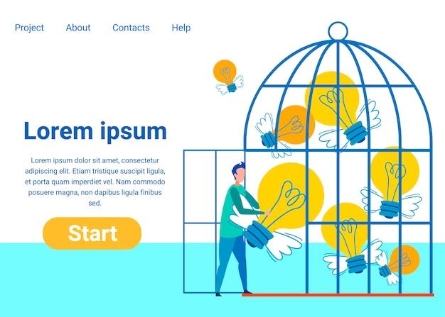 Plantilla de página de aterrizaje plana de ideas creativas