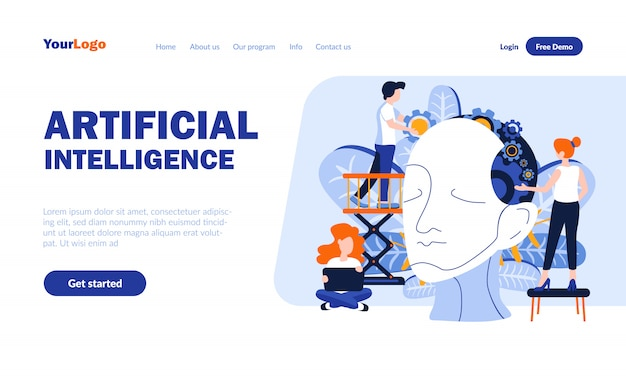 Plantilla de página de aterrizaje plana de inteligencia artificial con encabezado