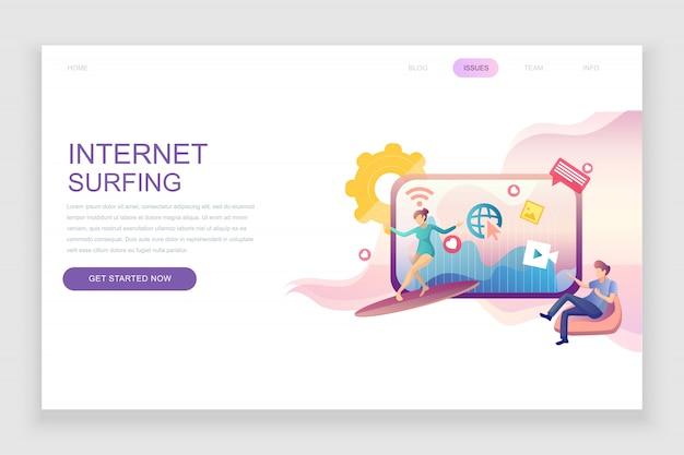 Plantilla de página de aterrizaje plana de internet surfing