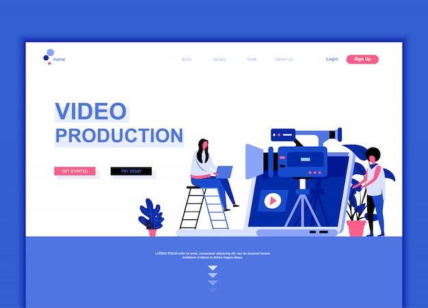 Plantilla de página de aterrizaje plana de producción de video