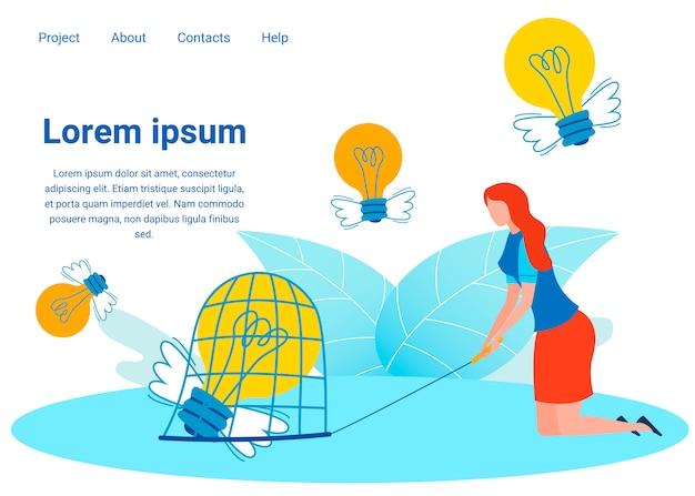 Plantilla de página de aterrizaje plana para proyectos innovadores