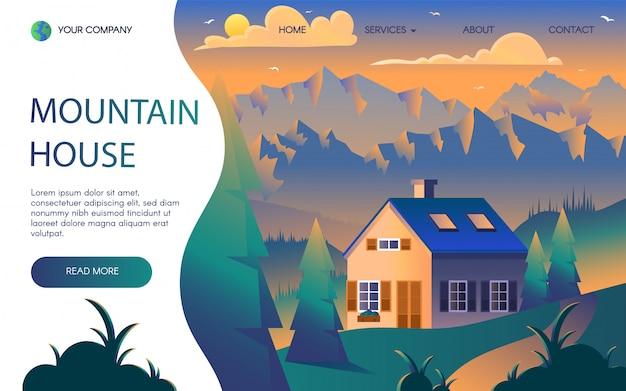 Plantilla de página de aterrizaje plana de resort de montañas