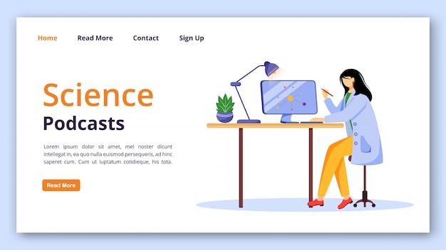 Plantilla de página de aterrizaje de podcasts de ciencia. chica en bata de laboratorio utilizando la interfaz del sitio web de la computadora con ilustraciones planas. diseño de página de inicio de tecnología de aprendizaje moderna, banner, concepto de dibujos animados de página web