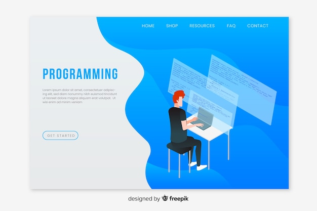 Plantilla de página de aterrizaje de programación isométrica