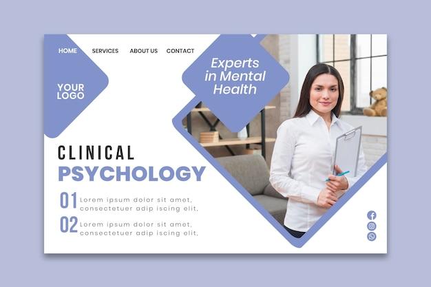 Plantilla de página de aterrizaje de psicología clínica