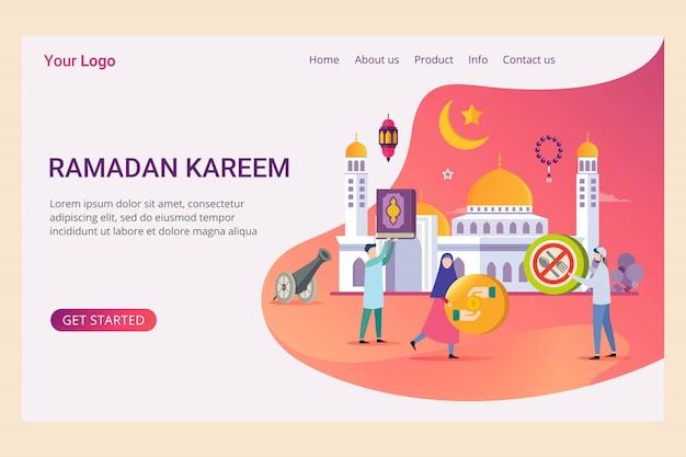 Plantilla de página de aterrizaje ramadan kareem con gente pequeña