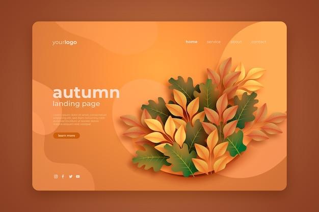 Plantilla de página de aterrizaje realista de rebajas de otoño