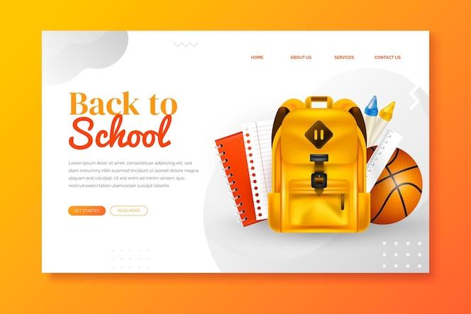 Plantilla de página de aterrizaje realista de regreso a la escuela