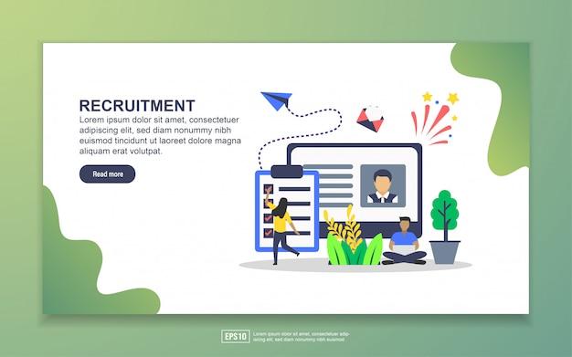 Plantilla de página de aterrizaje de reclutamiento. concepto moderno de diseño plano de diseño de páginas web para sitios web y sitios web móviles