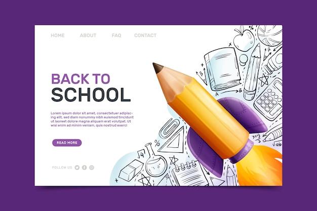 Plantilla de página de aterrizaje de regreso a la escuela con ilustraciones
