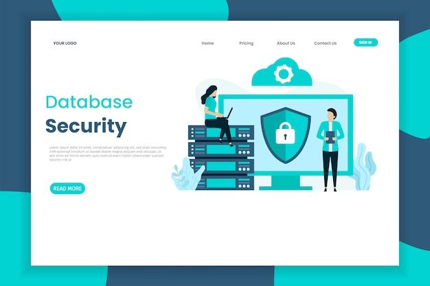 Plantilla de página de aterrizaje de seguridad de base de datos de diseño plano