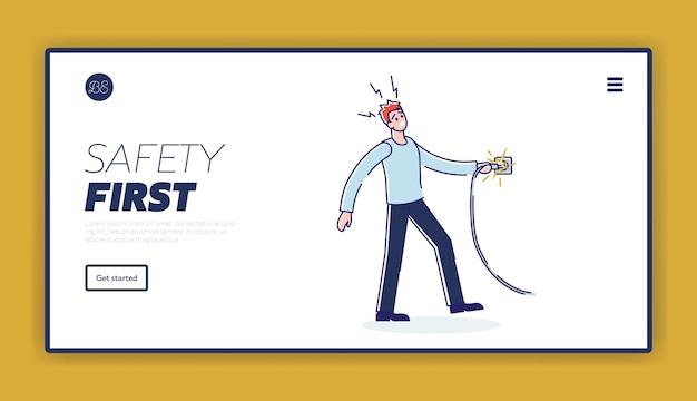 Plantilla de página de aterrizaje de seguridad eléctrica con un hombre recibiendo una descarga eléctrica del cable
