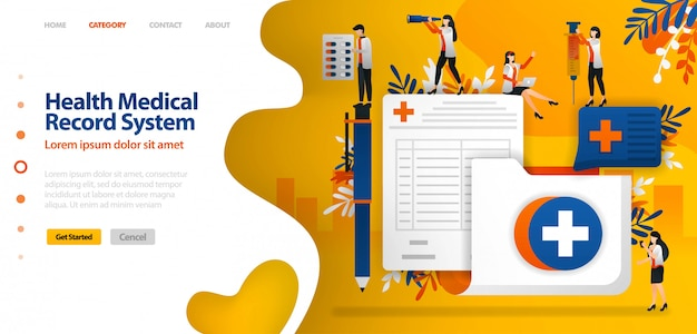 Plantilla de página de aterrizaje para el sistema de registro médico de salud. carpeta con símbolo de cruz y formulario de inscripción.