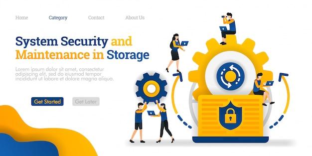 Plantilla de página de aterrizaje. sistema de seguridad y mantenimiento en almacenamiento. seguridad del sistema en el mantenimiento de datos.