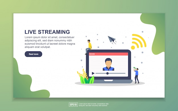 Plantilla de página de aterrizaje de streaming de vida. concepto moderno de diseño plano de diseño de páginas web para sitios web y sitios web móviles