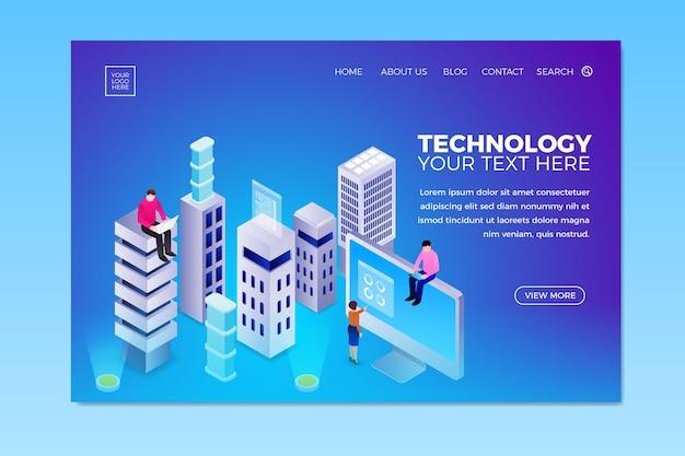 Plantilla de página de aterrizaje de tecnología conceptual