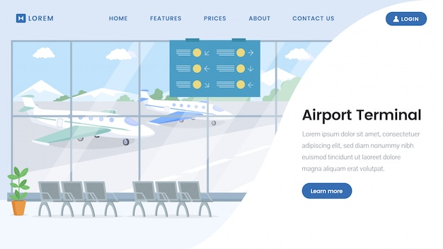 Plantilla de página de aterrizaje de terminal de aeropuerto