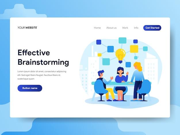 Plantilla de página de aterrizaje de trabajo en equipo y lluvia de ideas